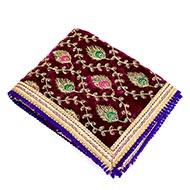 Mata Ki Chunri Velvet Embroidered Peacock With Tassel