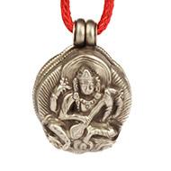 Saraswati Locket - in Pure Silver