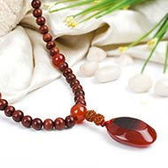Red Sandal Rudraksha and Red Carnelian Beads Mala