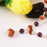 7 mukhi with Amethyst mala in silver caps