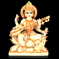 Goddess Saraswati in white marble idol
