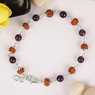 7 mukhi with Amethyst bracelet in Silver