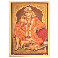 Lord Vishranti Saibaba Photo in Golden Sheet - Large