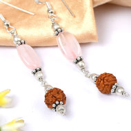 Rose Quartz and Rudraksha Earring