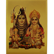 Shiva Parivar with Shivling Photo in Golden Sheet - Large