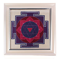 Shiva Yantra on silk with frame