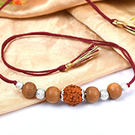 5 Mukhi Rakhi Sandalwood Beads with German silver accessories