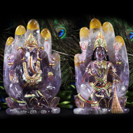 Divine Laxmi Ganesh on hand figurine in Amethyst