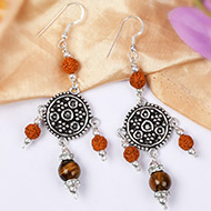 Tiger Eye and Rudraksha Earring - III