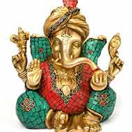 Turban Ganesha with Stone Work