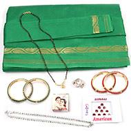 Devi Maa Shringar kit with Green Saree