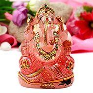 Exotic Ganesha Idol in Rose Quartz-452 gms