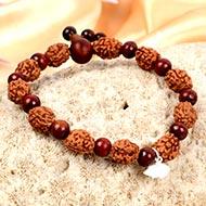 3 mukhi Mahajwala bracelet from Java with Red Sandalwood beads