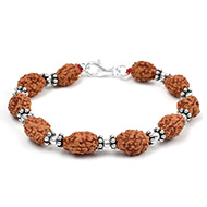 3 mukhi Mahajwala bracelet from Java with silver balls and chakri