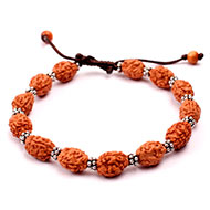 3 mukhi Mahajwala bracelet from Java with silver chakri in thread