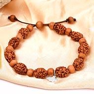 3 mukhi Mahajwala bracelet from Java with White Sandalwood beads