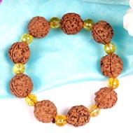 3 Mukhi Nepal Rudraksha beads bracelet with Citrine beads