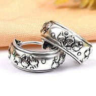 Round earrings in pure silver - Design II