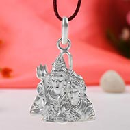 Shiva Parvati Locket in Pure Silver - I
