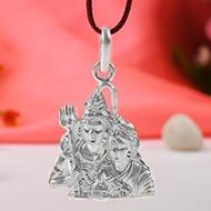 Shiva Parvati Locket in Pure Silver - I