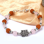 Rudraksha and Rose Quartz Bracelet