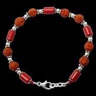 Cylindrical Coral with Rudraksha Beads Bracelet - II