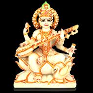 Goddess Saraswati in white marble idol