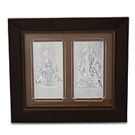 Ganesh Laxmi in silver with frame - III