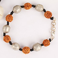 Rudraksha and Parad Bracelet in thread - 10 to 13mm