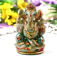 Exotic Ganesh Idol in Green Jade-456 gms