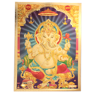 Ganesh with Subh Labh Photo in Golden Sheet - Large