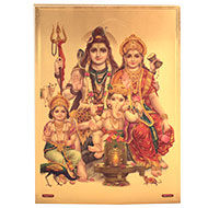 Shiva Parivar with Vahans Photo in Golden Sheet - Large