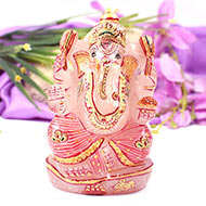 Exotic Ganesha Idol in Rose Quartz - 608 gms
