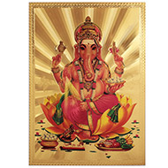 Ganesha on Lotus Photo in Golden Sheet - Large