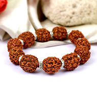 5 mukhi Guru bracelet with designer spacers - 15 mm