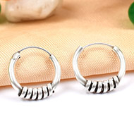 Round earrings in pure silver - Design VIII