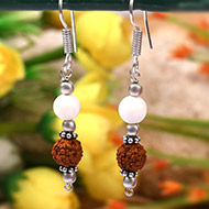 Rudraksha and Mother of Pearl Earrings