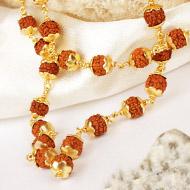 Rudraksha mala in gold polished copper - 6mm