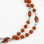 Rudraksha and Hessonite Gomed mala with silve..