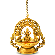 Hanging GajaLaxmi Idol with Shreeyantra in Brass