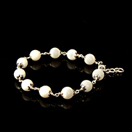 White Coral Bracelet in Pure Silver Flower Caps - 9mm