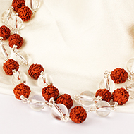 Sphatik and Rudraksha Mala in silver wire - 54 Beads - 8mm