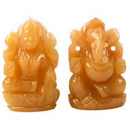 Ganesh Laxmi Pair in Yellow Jade