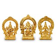 Laxmi Ganesh Saraswati idol in Bronze