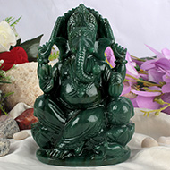Ganesha in Columbian Green Jade  - 1.228 Kgs