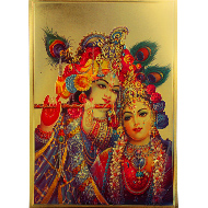 Radha Krishna Photo in Golden Sheet - Large IV