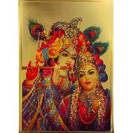 Radha Krishna Photo in Golden Sheet - Large IV