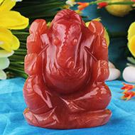 Red Jade Ganesha - 88 gms