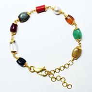 Navratna Bracelet in gold designer caps