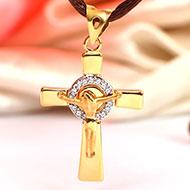 Cross locket in Pure Gold - 2.36 gms